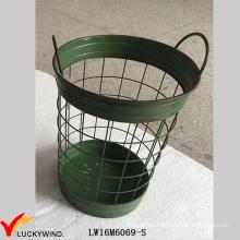 Green Paint Metal Iron Storage Handmade Wire Basket