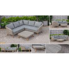 CANARY COLLECTION - Sofá más nuevo de la rota del PE del diseño 2012 fijado 2017 con las piernas de madera de la acacia / de la teca para los muebles de jardín al aire libre