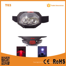 T03 1red LED + 2 LED Plástico Headlamp Traillight Camping Light Head tocha 3 * AAA bateria suporte luz