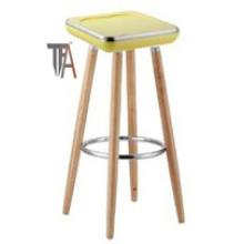 Asiento de ABS y patas de madera de haya Silla de bar de color amarillo