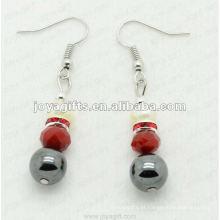Moda Hematita Red Crystal Beads Brinco, contas de hematita e prata brincos cor brinco hematite brincos 2pcs / set