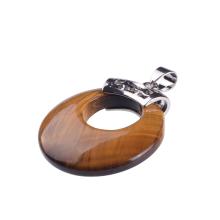 Стильный естественный тигровый глаз круглый большой размер кулон ожерелье