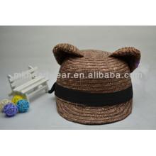 Sombrero de paja del verano de la venta al por mayor de los oídos del gato de los oídos con la cuenta plana