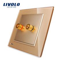 Livolo One Gang Sound & Acoustics Panneau de prise murale Panneau en cristal doré VL-W291A-13