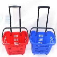 Two Wheels Store Plastic Rolling Basket