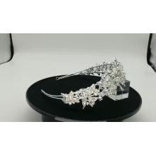Faixas de cabelo de noiva de cristal de pérola de prata artesanal Bling flor para cabeça de casamento para concurso