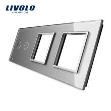 Livolo Luxury Grey Verre Trempé 223mm * 80mm UE Standard 2Gang & 2 Cadre Panneau En Verre Pour Interrupteur Et Prise VL-C7-C2 / SR / SR-15