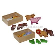 Baby Wooden Educational Toys Puzzle Shape Puzzles Animal Farm Magnetic Puzzle Fridge Magnet Puzzle Set