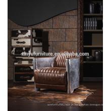 Cadeira de sofá de encosto de madeira vintage estilo americano A601