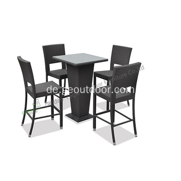 Outdoor-PE-Wicker 5-teiliges Bar-Set