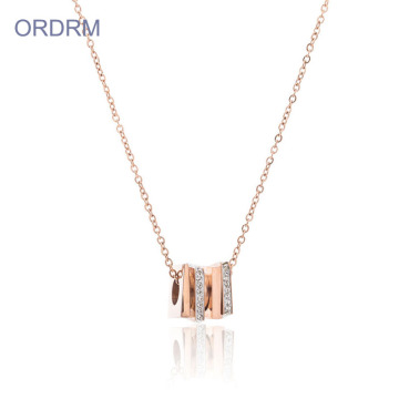Stainless Steel Cube Pendant Kalung Chain Womens
