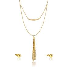 Juego de collar y pendiente con borla de la fábrica de oro de 18 quilates Juego de collar y pendiente de la borla con descuento de la fábrica