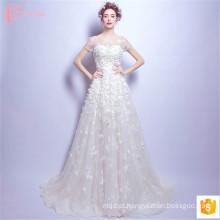 2017 Luxo Últimos desenhos e modelos Suzhou Vestidos de casamento Vestidos de casamento Handmade Flower Appliqued