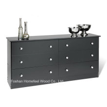 New Kids Bedroom Storage 6 Drawer Bedroom Dresser in Black