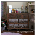 Vintage Grey white Wicker Basket Unit Lined Drawer Dividers wooden cabinet