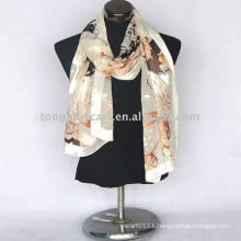 silk oblong burnt-out scarf