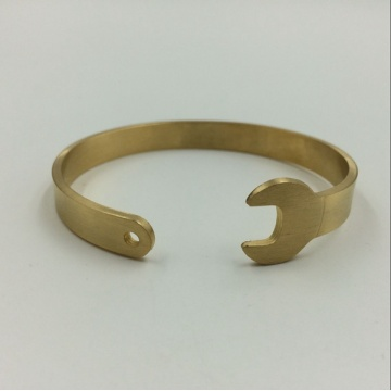 Gold Plated Wrench Tool Cuff Bracelet Bangle