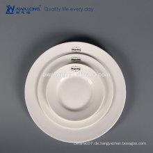 3 PC weißes kundenspezifisches Firmenzeichen-Knochen China-feines keramisches Abendessen-Platten-Satz