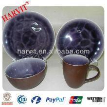 Gres en relieve flor y púrpura crackle esmalte cena set