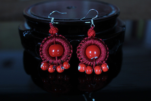 Ceramics Beads Thread Earrings