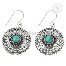 Joyería hermosa de la plata de la piedra preciosa de la turquesa pendiente de la plata de la venta al por mayor 925 joyería de la plata esterlina