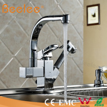 Copper 360 Degree Rotating Swivel Pull out Kitchen Sink Faucet Mixer Tap with Sprayer Bidet for Two Sink