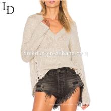 Suéter con cuello en v asimétrico con cuello en v y detalle de nueva llegada para mujer