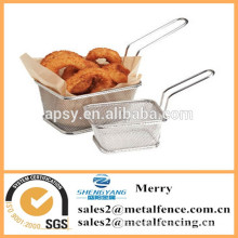square stainless steel mini fry basket for deep fat fryer