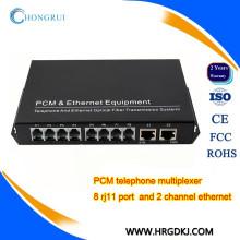 China fabricação de telefone PCM MUX 8 canais de voz sobre conversor de fibra