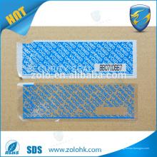 Kundenspezifisches selbstklebendes Sicherheitsband, manipulationssicheres Sicherheits-Hohlraumband mit Perforationslinie und Seriennummer
