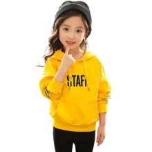 Girls Printed Letter Pretty Cotton Pullover Hoodies