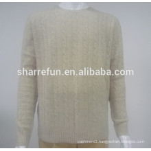 Factory wholesale 7gg cable knitted 100% cashmere sweaters for men