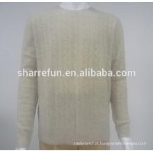 Fábrica de atacado 7gg cabo tricotado 100% blusas de caxemira para homens