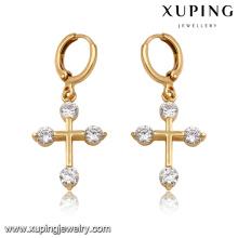 92166-Xuping New standard drop jewellery cross earrings for women