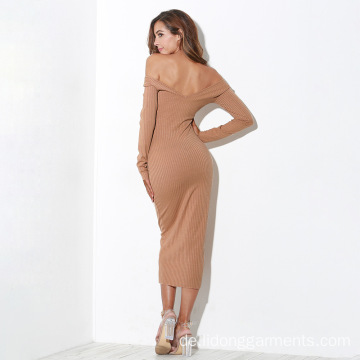Long Sleeve Off Shoulder Knitted Rib Sexy Bodycon