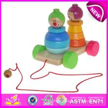 Buntes hölzernes Zurückziehen-Spielzeug für Kinder, Stapeln ziehen entlang Clown für Kinder, lustiges Baby-hölzernes Spielzeug ziehen und drücken Spielzeug W05b070