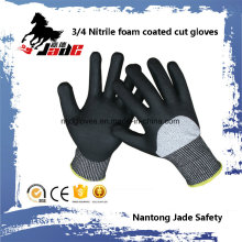 13G 3/4 Nitrile Foam Coated Cut Resistant Safety Glove Level Grade 3 and 5