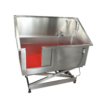 Pet equipment stainless steel electric lift dog grooming bathtub for sale