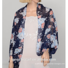 2016 Spring/Summer Lady's classic floral printed polyester voile cape shawl