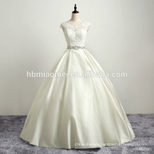 Bridal Wedding Backless Gown Satin Lace Vintage Appliqued Rhinestone Dress Wedding With Pink Sash