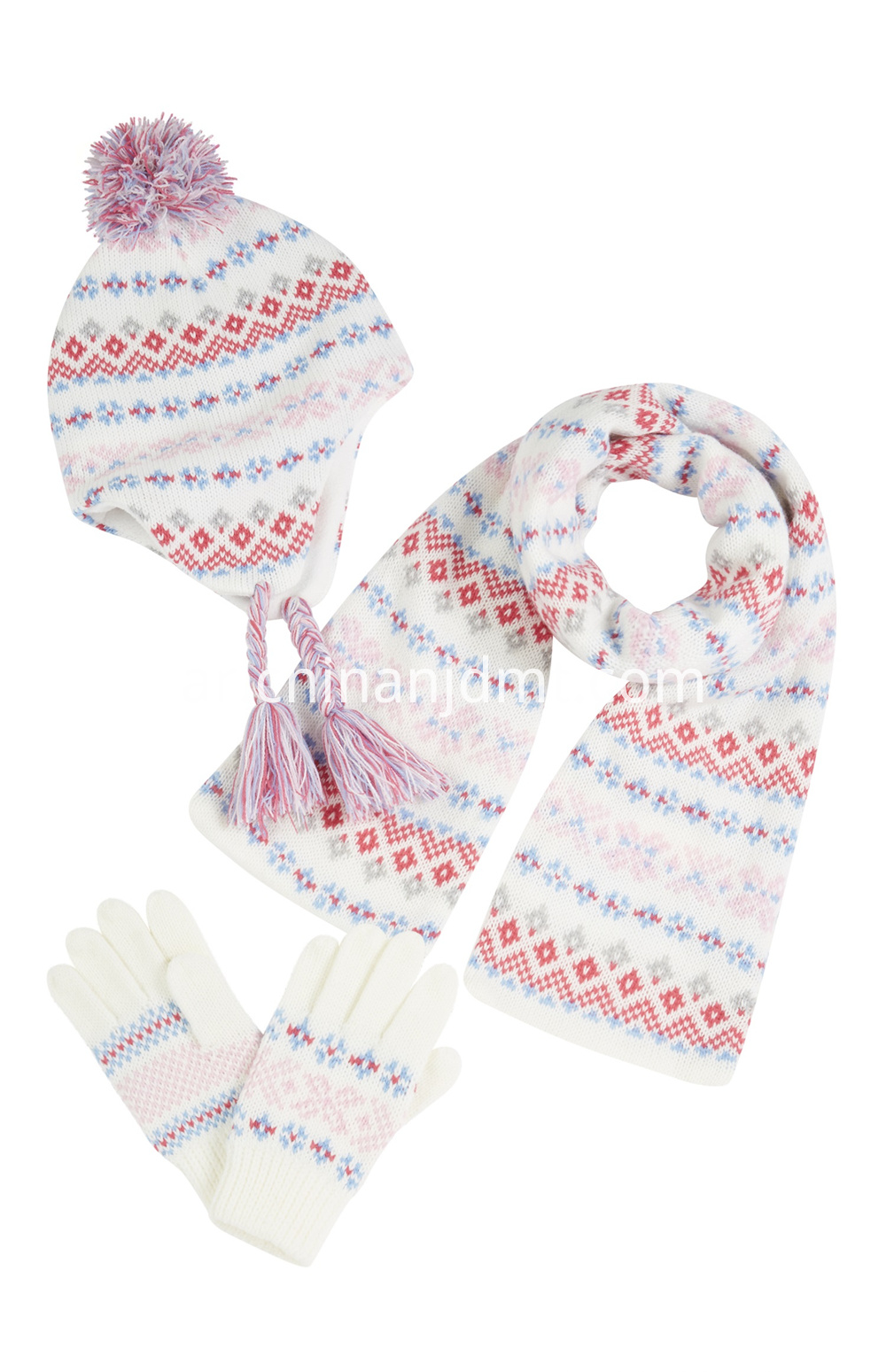 White And Pink Fairisle Glove Scarf Set