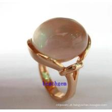Anéis de prata joias moda quartzo rosa (GR0023)
