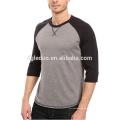 Camiseta de béisbol de combinación de color de dobladillo recto al por mayor Camiseta de manga 3/4