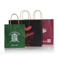 Custom High Quality Men's Wear Clothes Packaging Brown Kraft Shopping Paper Bag With Flat Handle