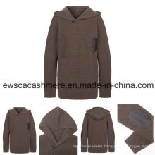 Men′s Fashion Design High-End Pure Cashmere Knitwear with Leather Decoration