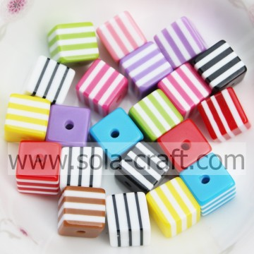 Pretty Colorful Factory Price Alibaba 500Pcs  Striped Solid 8MM Square Cube Chunky Loose Spacer Beads
