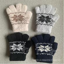 Lovely Embriodery - Guantes con cinco dedos para mujer con estampado floral