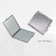 Miroir compact carré en métal argenté (BOX-45)