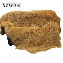 Heißestes goldenes super weiches mongolisches Lamm-Pelz-Kissen