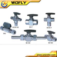 União de conexão de extremidade de ferrolha 2 vias 3 vias de válvula de esfera de gás de aço inoxidável